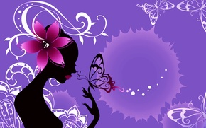 Wallpaper flower, girl, abstraction, style, collage, butterfly, silhouette