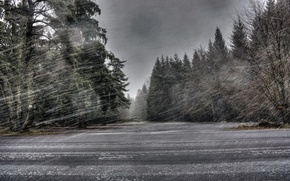 Picture road, snow, Blizzard
