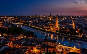 Picture sunset, lights, Italy, twilight, Verona