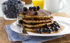 Wallpaper berries, blueberries, honey, pancakes, pancakes, pancakes