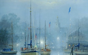 Picture the city, fog, picture, boats, harbour, Harvey G