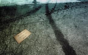 Wallpaper void, hopelessness, letter, asphalt
