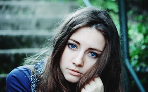 Picture look, girl, brown hair, blue-eyed
