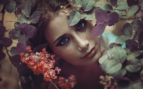 Picture eyes, girl, face, foliage, makeup, lips