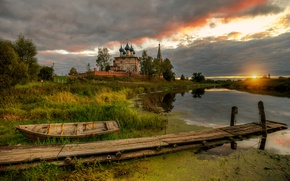 Picture sunset, Russia, village of Dunilovo
