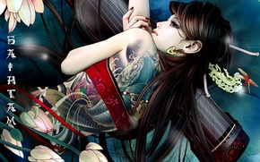 Picture Flowers, Girl, Asian, Tattoo, Characters