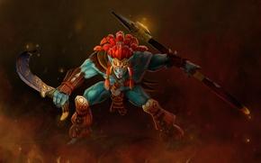 Picture weapons, warrior, art, stand, Troll, Dota 2, Huskar, Sacred Warrior, stephors