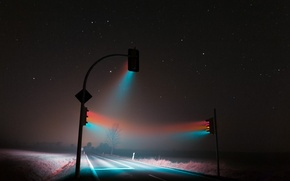 Picture road, light, night, fog, track, night, fog, traffic lights, soft light, traffic lights, roaming, weimar