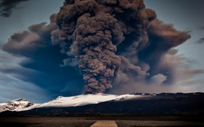 Picture mountains, lake, pierce, mountain, lake, pier, volcan, eruption, Volkan, The eruption