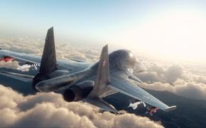 Wallpaper fighter, rendering, su 34, clouds