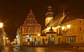 Picture night, lights, street, home, lights, lane, bridge, Kirchberg Germany