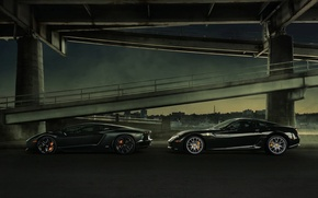 Picture Lamborghini, Ferrari, Bridge, Night, LP700-4, Aventador, Supercars, Supercars, 599 GTB