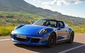 Picture car, auto, blue, speed, 911, Porsche, Porsche, blue, Targa 4 GTS