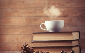 Picture books, coffee, Cup, cup, coffee, books