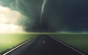 Wallpaper tornado, road, grass