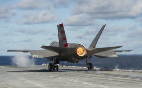 Picture sea, fighter, deck, bomber, the rise, Lightning II, F-35C