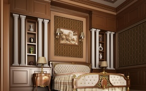 Picture lamp, room, bed, interior, bedroom