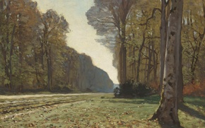 Picture landscape, tree, The road from Chailly, picture, Claude Monet