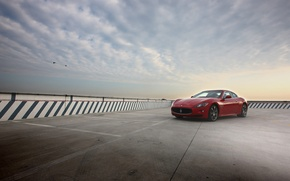 Picture the sky, Maserati, red, Maserati, GranTurismo S