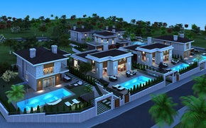Picture night, photo, home, mansion, 3D graphics