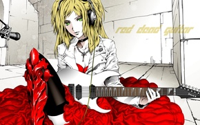 Wallpaper guitar, dress, blonde, microphone, electric guitar, green eyes