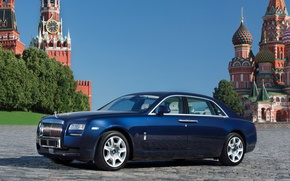 Picture the sky, blue, The Kremlin, St. Basil's Cathedral, Spasskaya tower, the front, limousine, red square, …