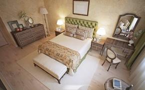 Picture design, Villa, bed, pillow, mirror, Design, bedroom, chest, lamps, Bedroom