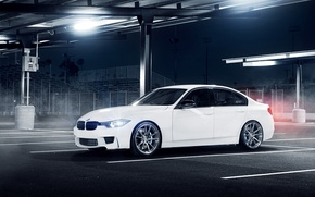 Picture white, glare, BMW, BMW, Parking, white, front, F30, 3 Series