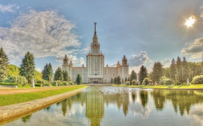 Picture summer, the sky, grass, water, clouds, trees, pond, people, Moscow, University