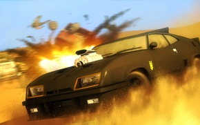 Picture desert, chase, car, Mad Max, Ford Falcon, V8 Interceptor