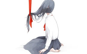 Picture girl, anime, art, tape, form, schoolgirl, sitting, tae