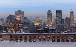 Picture winter, the city, skyscrapers, panorama, Canada, skyscrapers, Montreal
