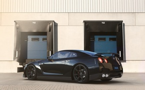 Picture Nissan, GT-R, Car, Black, Sun, R35, Sport, Rear, Ligth