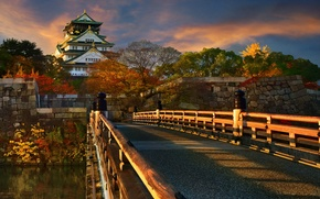 Picture autumn, the sky, clouds, light, trees, landscape, bridge, nature, house, style, river, stones, castle, wall, …