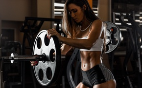 Picture face, hair, damn, figure, Valentina, Grif, rod, press, Fitness, the gym