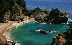 Wallpaper waterfall, beach, the ocean, Bay
