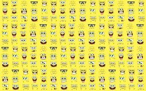 Picture joy, smile, mood, cartoon, teeth, glasses, mug, cool, spongebob, mount, Spongebob, rakhmet95, sponge bob