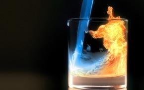 Wallpaper glass, water, night, fire