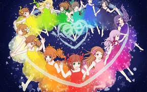 Picture joy, girls, heart, stars, tape, bow, the night sky, girlfriend, rainbow, Idolm@ster, The idolm @ …