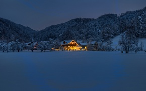 Picture winter, night, house