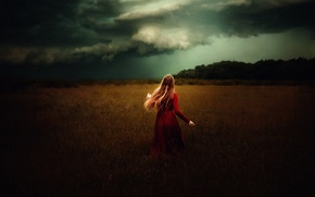 Picture field, girl, clouds, in red, TJ Drysdale, The Lady In Red
