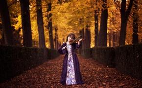 Wallpaper autumn, violin, girl