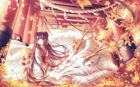 Picture autumn, leaves, girl, the wind, dragon, rope, gate, horns, sitting, priestess