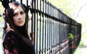 Picture eyes, look, girl, street, the fence, brunette, lips, hair., the photographer Alexander Astapov