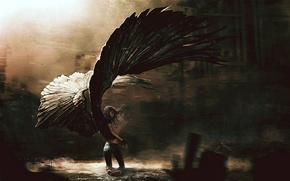Picture girl, the darkness, wings, shadows, wings, angel
