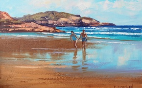Wallpaper FIGURE, ART, BEACH STUDY, ARTSAUS