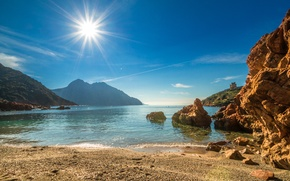 Wallpaper rays, mountains, France, coast, beach, sea, Corsica, the sun, the sky, stones