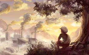 Picture tree, mood, plant, smoke, figure, boy, art, buildings