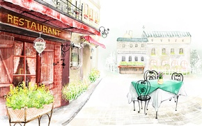 Picture flowers, the city, street, figure, building, restaurant, table