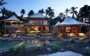 Picture house, palm trees, sport, the evening, pool, hall, pool, Bungalow, bedroom, sunbeds, houses, interior, exterior, ...